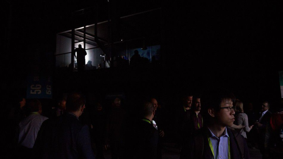 The power outage in Central Hall left attendees literally in the dark.