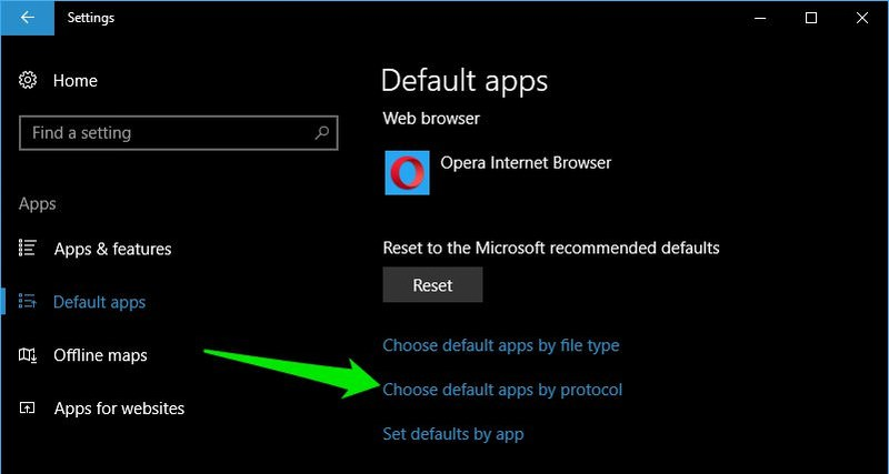 choose default apps by protocol