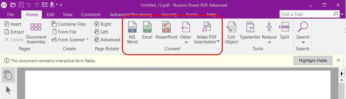 Convert from PDFs using Power PDF