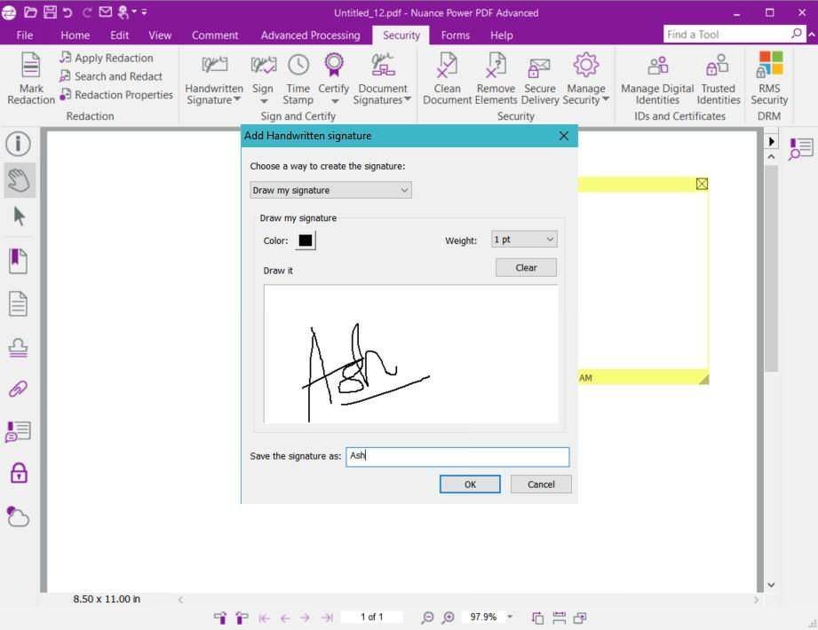 Handwritten signature in Power PDF
