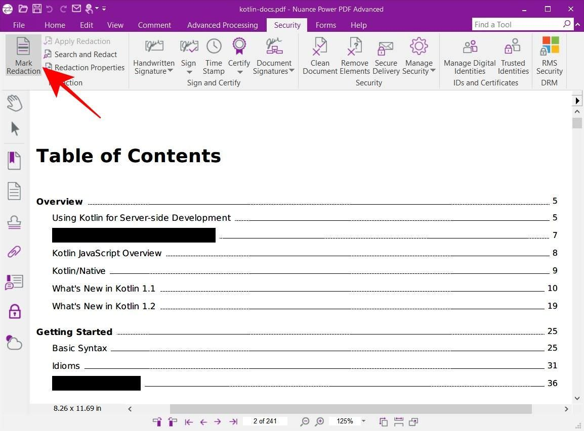 Power PDF Advanced supports redact feature
